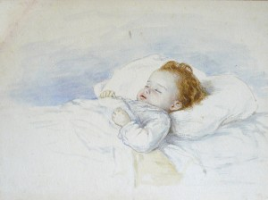 Macgoun_H.C.P._(attributed_to)_-_Watercolor_-_A_sleeping_child_-_22.5x30cm